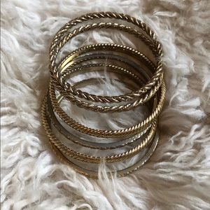 J. Crew set of 6 Gold detailed bangles!
